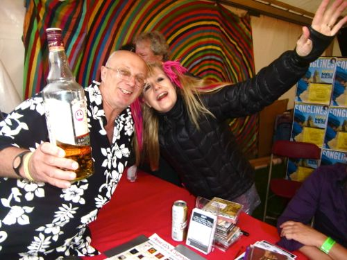 From l-r, whisky, the author, Tom Tom Club's Tina Weymouth