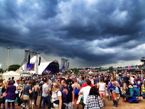 Storm clouds over the Pyramid Stage